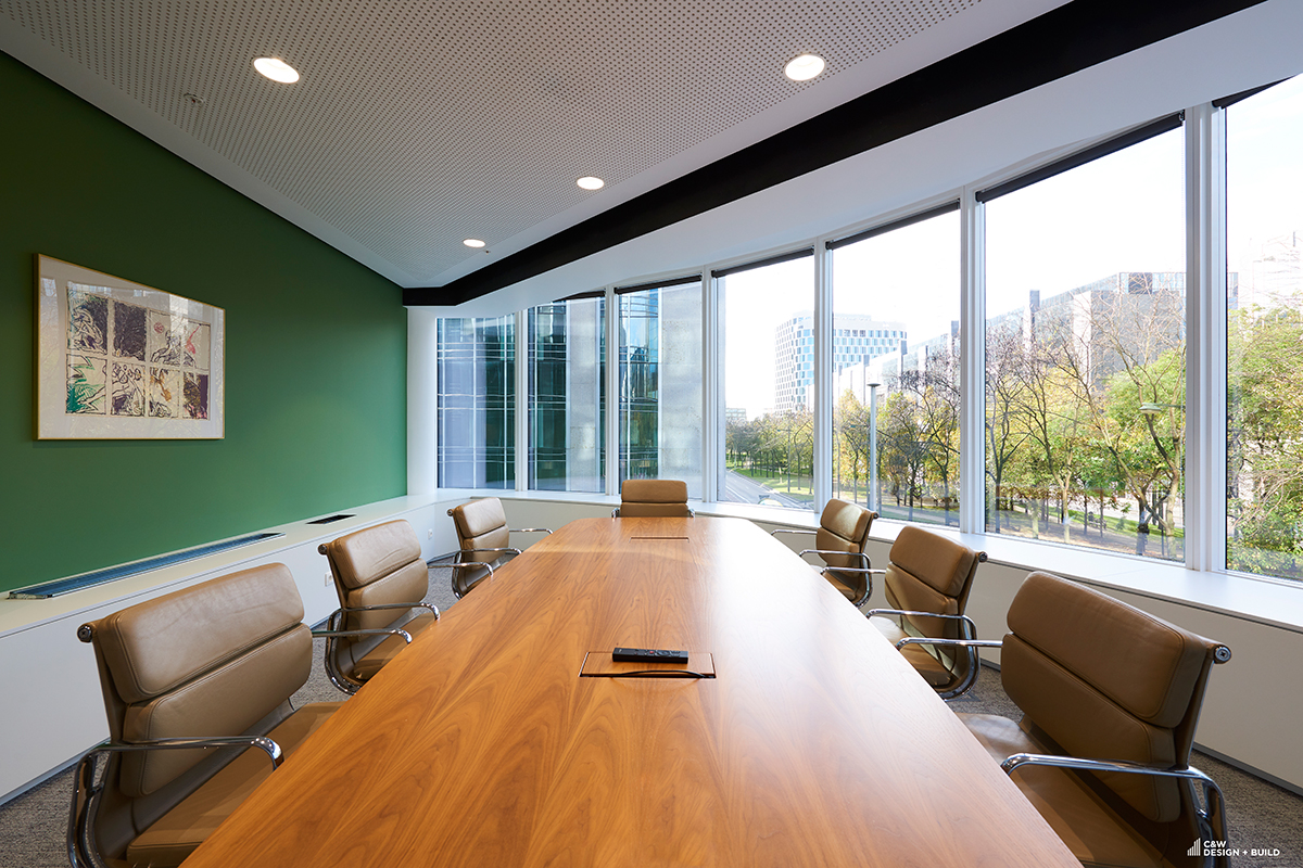 Febelfin new offices meeting room with a viewa